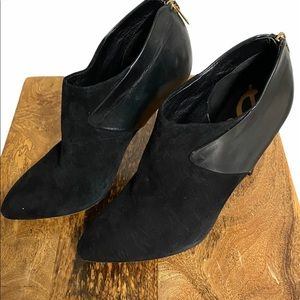 Sam Edelman suede & leather ankle boots black 10.5